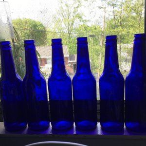 Lot of 6 Cobalt Blue Empty Beer Bottles For Crafts